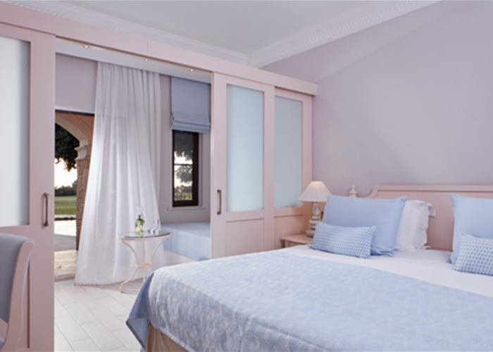 Aphrodite Hills Hotel by Atlantica - Family Room with Sliding Door Golf/Sea View